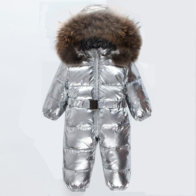 -30 Graden Winter Baby Snowsuit Witte Eendendons Echte Bont Zuigeling Jongens Jumpsuits Donsjack Pasgeboren Meisjes Uitloper Jas Sneeuw Dragen