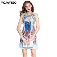 YOJAYIGO 2017 Autumn New Style Fashion Floral Women Dresses,O-neck Print Slim Sexy Bodycon Tunic Casual Sleeveless Short Dress