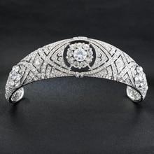 רויאל העתק נזר עם אמיתי גבישים אוסטריים, נסיכת מגאן חתונה כלה נזר כתר Headpieces HG078