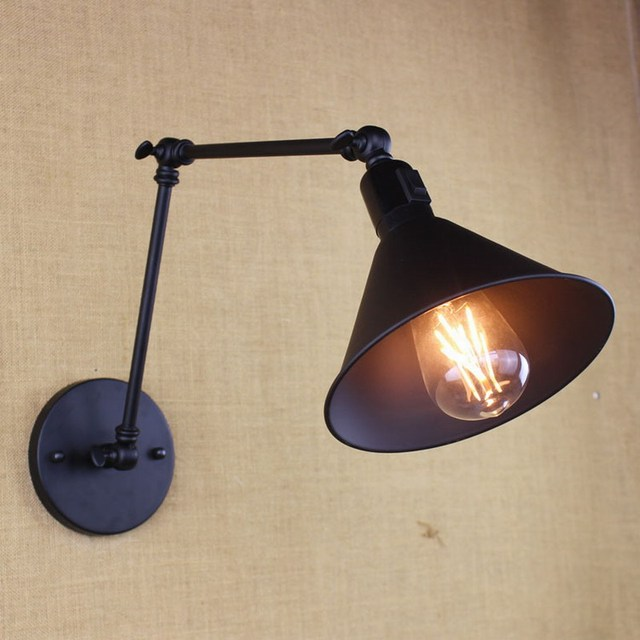 Amazing Metal Black Industrial Swing Arm Wall Sconce Wall Lamp Light Fixture