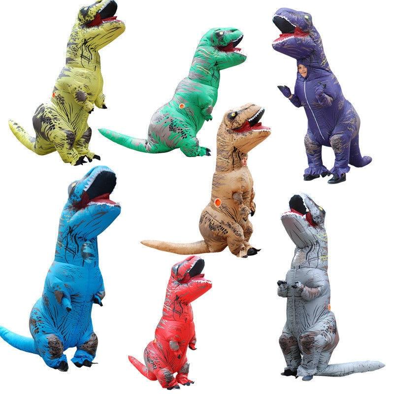 Inflatable T-Rex Dinosaur Costume Adult Fancy Dress Blow Up Suit-Purple