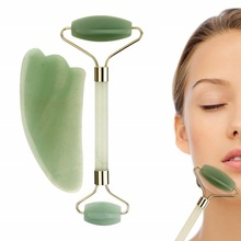2PCS Gua Sha Facial Roller Massager Chinese Medicine Natural Jade Board Scraping Tool face jade roller lifting stick