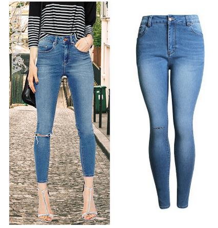 Free Shipping Womens High Waist Hole Denim Trousers Casual Jeans Pants Full Length Slim Denim Pants Fashion Jeans Trousers B10 крышка сиденье ifo grandy rimfree дюропласт rp215000100