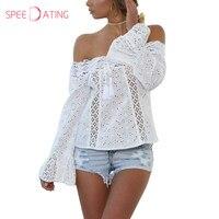 Open Shoulder Decorative Lace Plain Bell Sleeve Shirts Blouses