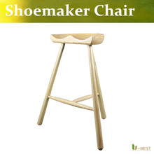 Free shipping U-BEST shoemaker off tripod stool ash wood chair,Danish shoemaker stool bar stool for changing his shoes