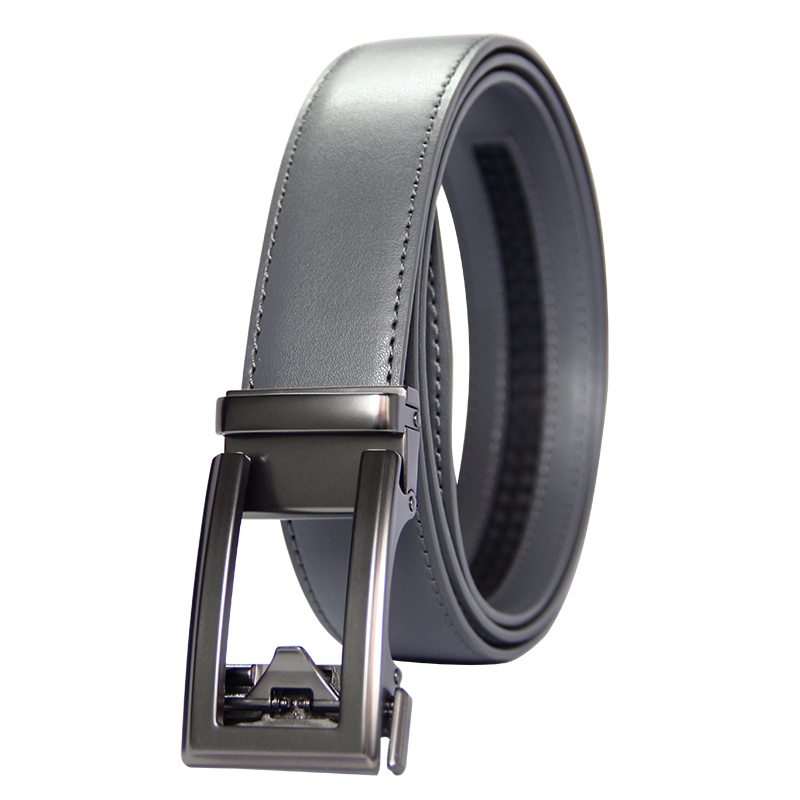 High Quality Cowhide genuine Leather   Belt   For Men 3.5cm width Mens Automatic Buckle Brand Luxury Grey mens   belts