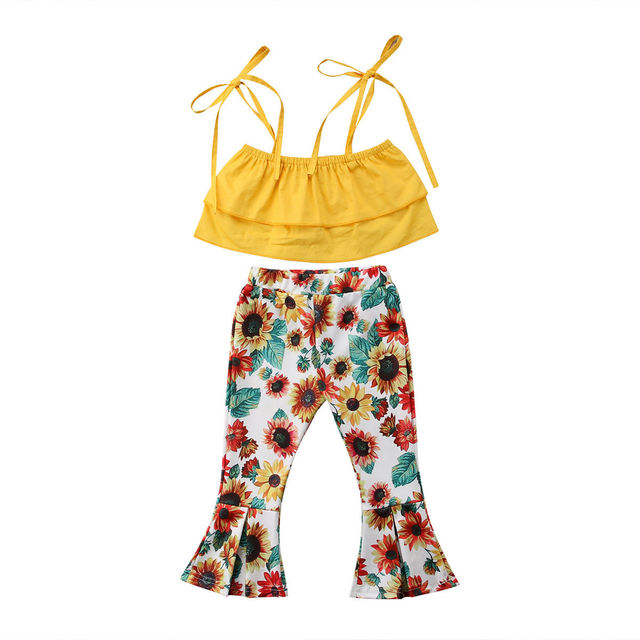 2e051df4c85bb Summer Toddler Kids Baby Girl Sleeveless Layered Yellow Tank Tops+Sunflower Flared  Pant Bell-bottom 2PCS Outfits Clothing Set