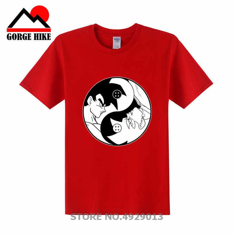 Футболка Goku Tai Chi Yin Yang с драконом и шариком, футболка для мальчиков, Harajuku, DBZ, большие размеры, футболка с 3D принтом богов и дьявола, 100% хлопок, дышащая