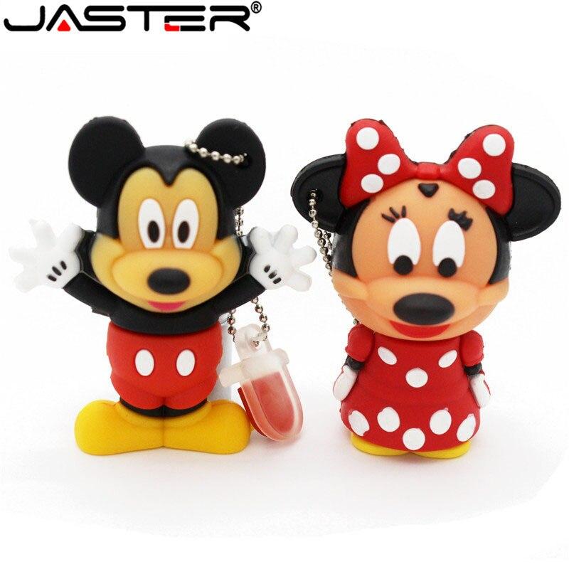 JASTER Wholesale Cartoon Minnie Mickey Memory Card Usb Memory Stick Usb 2.0 32g/16g/8g/4g U Disk Fashion Creative Gift