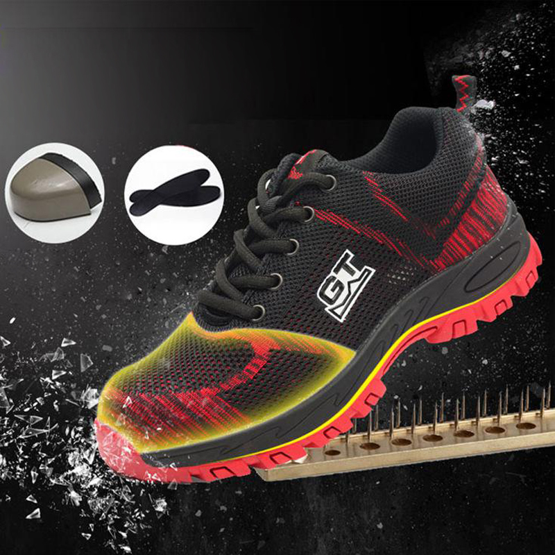 Safety Shoes Cap Steel Toe Safety Shoe Boots For Man Work Shoes Men Breathable Mesh Size 12 Footwear Wear-resistant GXZ001 super shock absorbing steel toe cap safety shoes tear resistant breathable work shoes