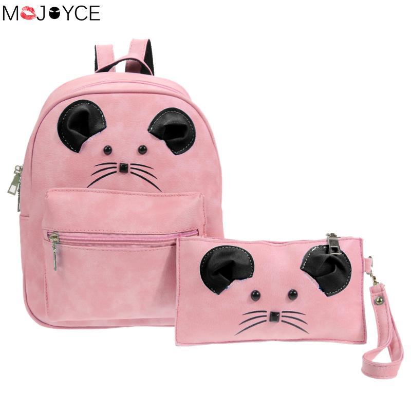 MOJOYCE 2pcs/Set Women Cartoon Mouse PU Leather Backpacks Womens Backpacks Teenage Girls Stylish School Bags Back Packs Bags