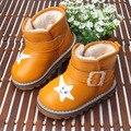 Caliente del Invierno del bebé niño niña de algodón botas térmicas, niños cálidas botas de nieve antideslizante vaca músculo bottom, niños zapatos de cuero de vaca