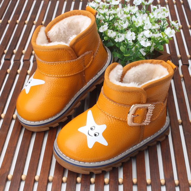 Hot Winter baby boy girl cotton thermal boots, Children warm antiskid snow boots cow muscle bottom, Kid cow leather shoes
