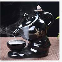 Plum Orchid Bamboo Chrysanthemu Teapot Backflow Cone burner incense holder