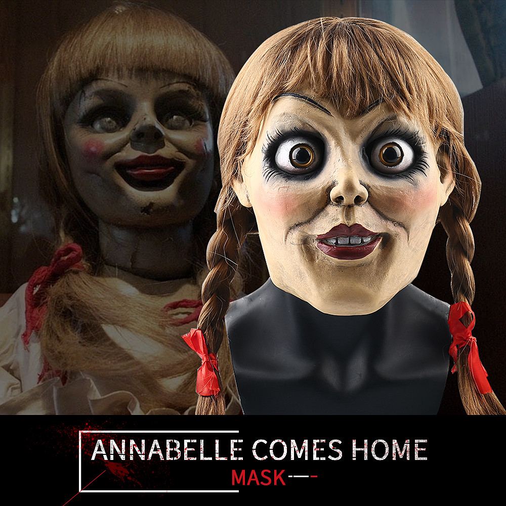 2019 New Movie Annabelle Comes Home Cosplay Annabelle Mask with Dark Brown Braid Wig Latex Cosplay Halloween Scary Movie Mask image