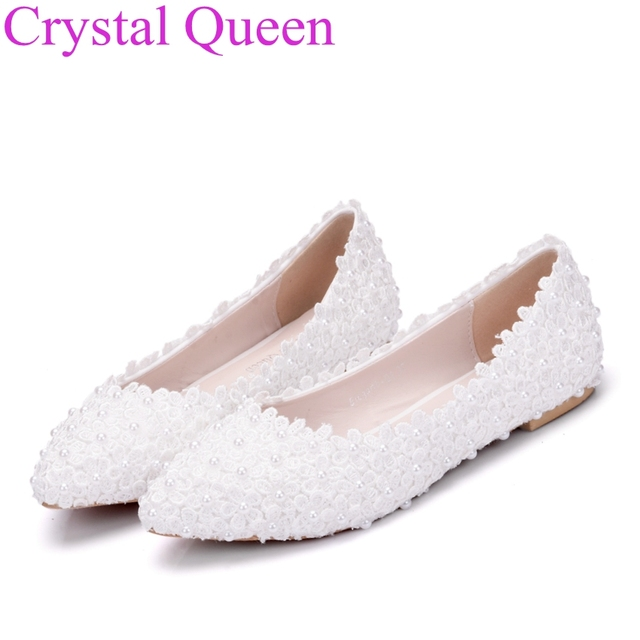 Flat White Flower Wedding Shoes Shallow Mouth Pointed Toe Shoes