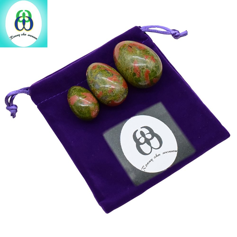 Ronny Zhu Wenwu Yoni Egg Drilled Body Massager Natural Unakite Stone Jade Eggs Carved  Wa Ben Ball for Women Kegel Exercise