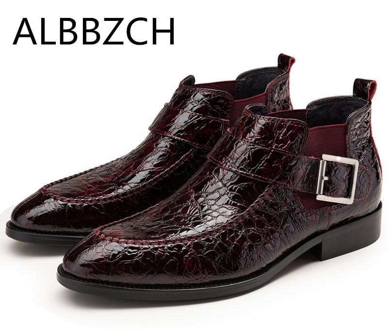485a7d82 Lujo De Hombres Botas Chelsea Vestido Trabajo Los Slip Tobillo Tendencia  red Diseño Punta En Wine Black Zapatos Cuero ...