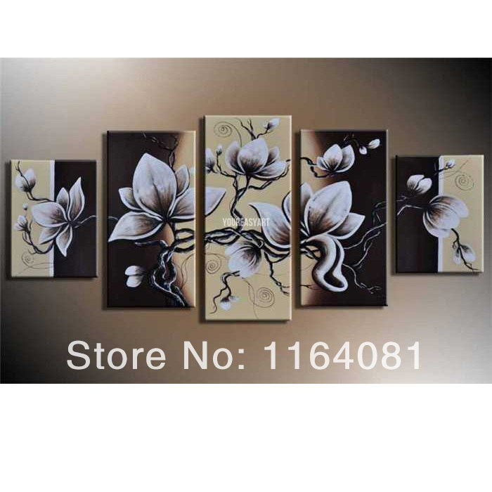5 Pieces Wall Art Modern Abstract Sakura Oil Painting On Canvas Large Cheap  Fast Home Goods Pictures On The Wall Picture In Painting U0026 Calligraphy From  Home ...