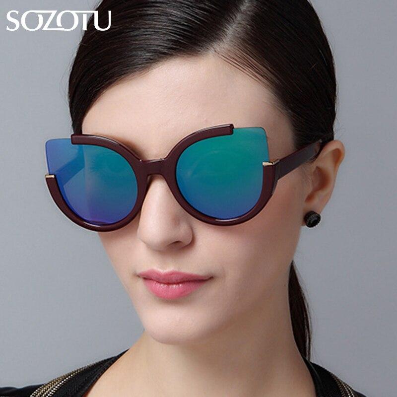 d8fb015a78 SOZOTU Mode Cat Eye lunettes de Soleil Femmes Lunettes de Soleil Pour Femme  Dames Vintage Rétro Marque Designer Revêtement Miroir YQ006