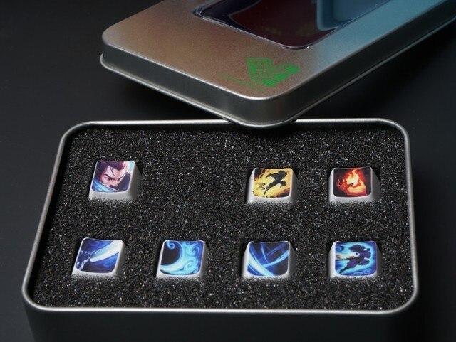 Tampas de chave de teclado mecânico, 7 teclas/conjunto, altura, oem, teclas de habilidade para lol