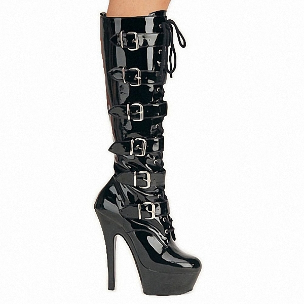 Plus:35-44 45 46 Sexy 15cm thin heels Knee-High Motorcyle/Knight boots woman PUNK shoes Lace-up Buckle Gothic Gladiator pumps cdts plus 35 45 46 2016 spring summer 15cm ladies work boots thin high heels platform pumps woman shoes