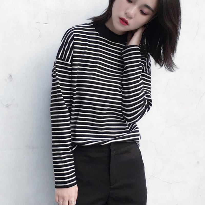 2019 Autumn Women T Shirt Fashion Clothing Lady O Neck T-Shirt Causal Black White Strip Long Sleeve Top For Female