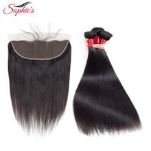 Sophie's Human Hair Bundles с фронтальным закрытием 3 комплекта с 13 * 4 кружевными фронтальными бразильскими прямыми невосстановимыми наращиваниями волос