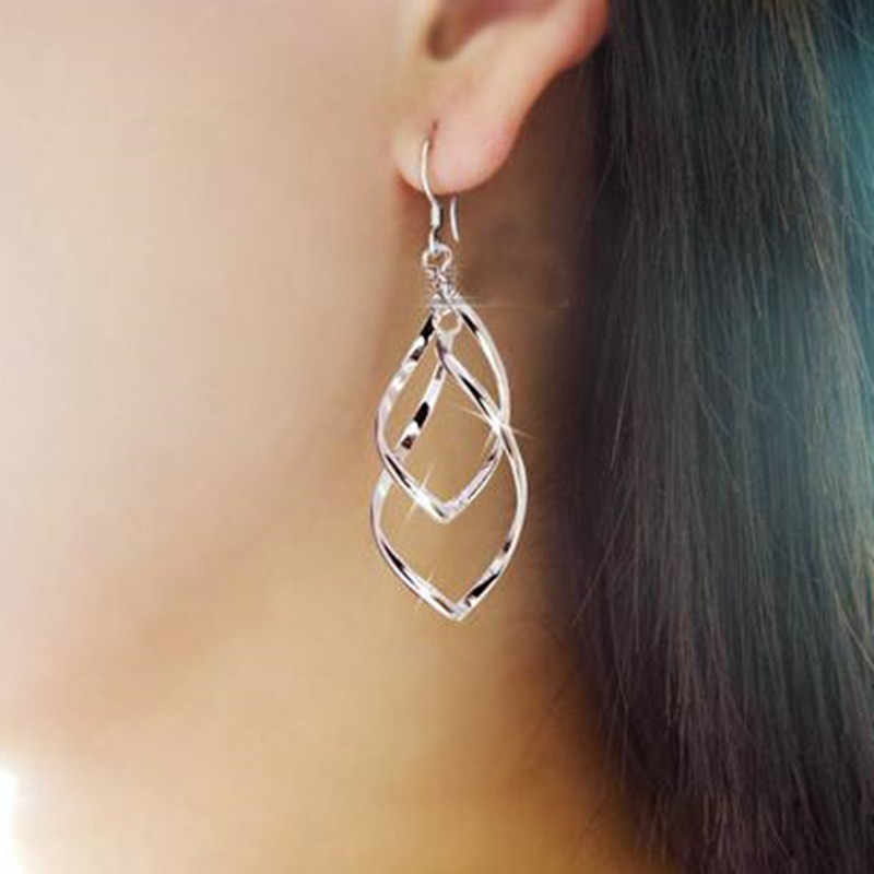 E137 Classic fashion super shiny alloy earrings women Distorted crystal earrings multilayer  Bicyclic lady OL earrings