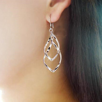 E137 Classic fashion super shiny alloy earrings women Distorted crystal earrings multilayer Bicyclic lady OL earrings image