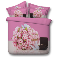 3D Pink Roses Bedding set bedspreads Cal King Queen size full twin duvet cover bed in a bag sheet spread Rose department store