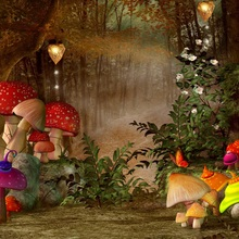Laeacco Fairy Tale Jungle Mushroom Flowers Baby Party Photography Background Customized Photographic Backdrops For Photo Studio
