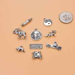9pc mixed Antique Silver Color Charm Pendants money car animal Jewelry Making Findings DIY Charms Handmade
