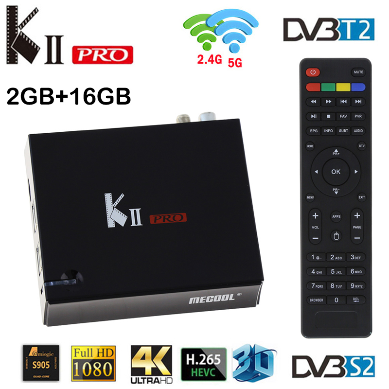 Mecool KII Pro DVB-S2 DVB-T2 Android 5.1 tv box Amlogic S905W Quad Core 2GB RAM 16GB ROM DVB T2 S2 4K Wifi Media Player TV BOX ourspop mk823 rii x1 air mouse quad core android 4 2 google tv player w 2gb ram 8gb rom xbmc
