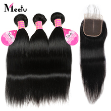 Meetu Brazilian Straight Hair Bundles med lukning 100% Human Hair Bundles med Lukke 3 Bundler Med Lace Closure 4x4 Non Remy