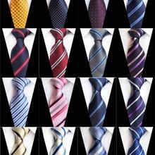 8cm Check Yellow Beige Jacquard Woven 100% Silk Ties Mens Ne