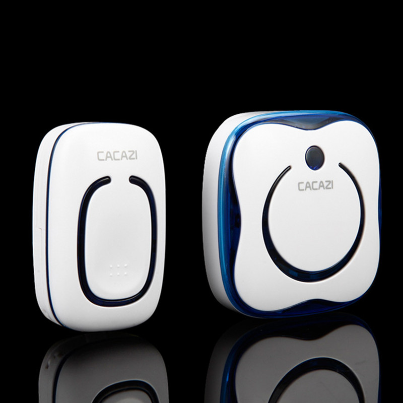 CACAZI 9809 Waterproof AC Digital Wireless Doorbell Button 1 Transmitter 2 Receivers Remote Control Elderly Pager Plug-in Bell cacazi a9 3 ac 75 250v wireless doorbell 1 waterproof button 3 receivers 52 ringtones 4 volume 300m remote electronic doorbell