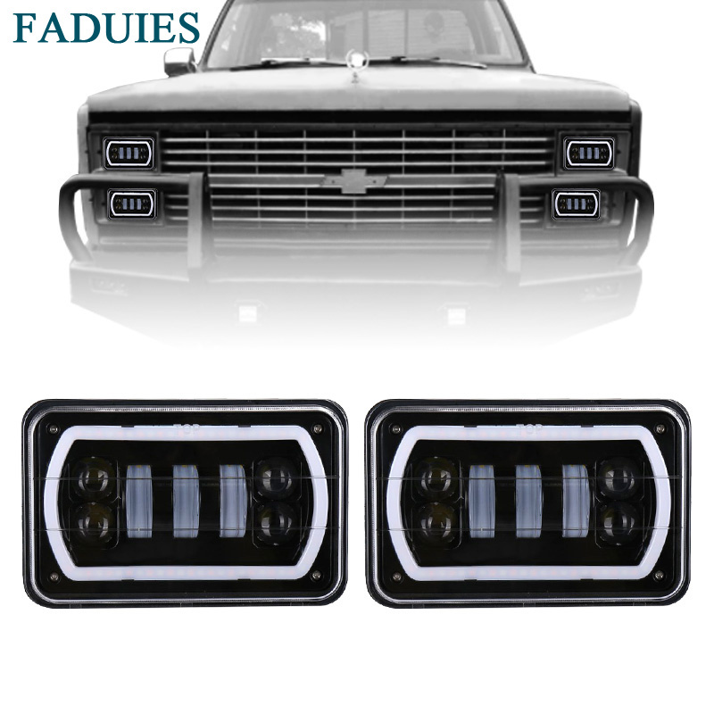 FADUIES 4 x 6 Inch Square Led Headlight Reflector Sealed Beam Replacement With High/Low Beam + DRL For Chevy Trucks 4X4 Offroad