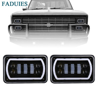 FADUIES 4 X 6 Inch Square Led Headlight Reflector Sealed Beam Replacement With High Low Beam