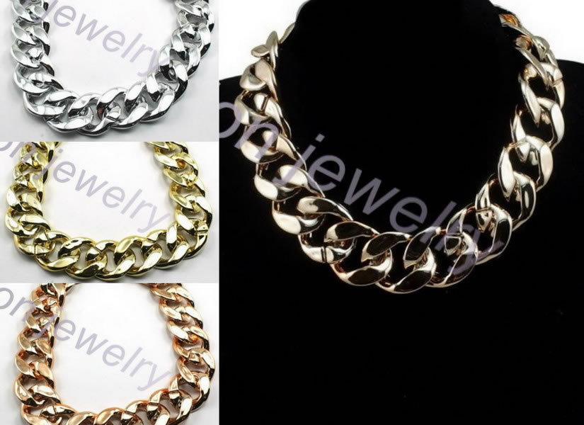 2.5cm Wide Big Choker Neklace Handmade by CCB Acrylic Links Together in 3colors Mix