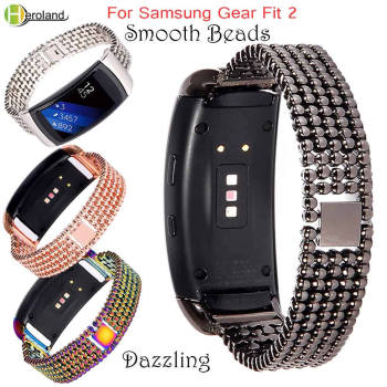 Smart Wristbands Stainless Steel Bracelet For Samsung Gear Fit2 SM-R360 Watch wrist Strap For Gear Fit 2  High Quality Bead band ceramic watch band 18mm for samsung gear fit 2 sm r360 butterfly buckle strap wrist belt bracelet black spring bar adapters