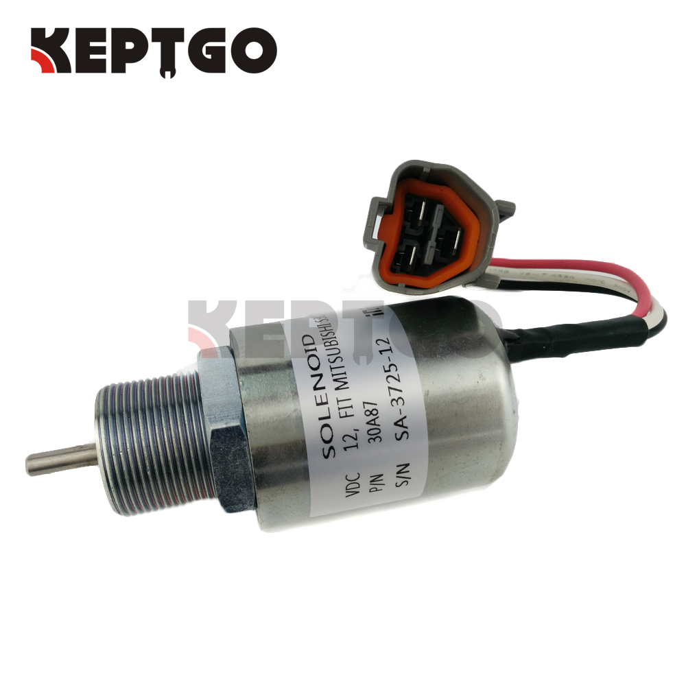 Fuel Shutoff Stop Solenoid SA-3725-12 Fit For Mitsubishi Engine L3E2-63ESA S4L-2 30A87-10043 PJ 7415748 30A87-10044 racing new oil cap engine cover fuel for mitsubishi evo