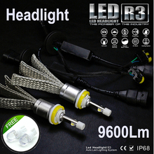 JGAUT R3 9600lm Car LED Headlight XHP50 Kit H1 H3 H4 H7 H9 H11 H13 9005