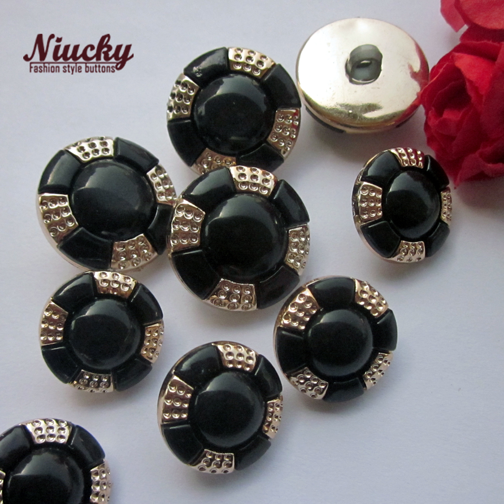 Niucky 21.5mm / 17.5mm black pearl light combined coat buttons for sewing women children fashion sewing accessories Pc0301-008