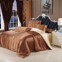 Imitation silk satin luxury bedding set silver satin set full king size bed sheet set summer bedclothes duvet cover pillowcases.