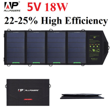 ALLPOWERS Solar Phone Charger 18 Watt 5 Voltage Solar Panel Charger for iPhone iPad Series Samsung HTC, Tablet PC and More.
