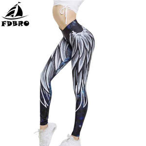 5cf1bbdc732e5 Slim Elastic Waist Sports Leggings 3D Wings Printed Yoga Pants Fitness Gym  Workout
