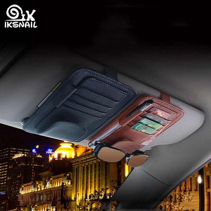 IKSNAIL Multifunctional Car Sun Visor Card Holder Oxford Cloth Car Organize Box Card Case Sunglasses Clip Car Interior Accessory