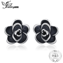 JewelryPalace Vintage Black Flower 925 Sterling Silver Stud Earrings Beautiful For Mother And Daughter  2018 New Hot As Gifts