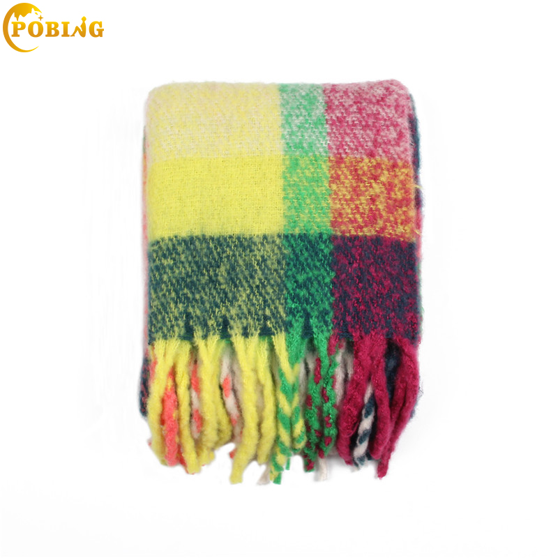 POBING 2018 New Winter   Scarf   Women Striped Plaid   Scarves     Wraps   Soft Warm Cashmere Tassel Shawl Big Pashmina Lady Blanket Stoles